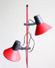Vintage-rode-staande-vloerlamp-twee-spots-trompet-lamp-4