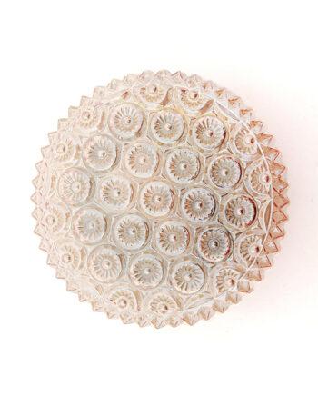 Vintage ronde plafonnière zalmkleurig met bloemenreliëf jaren 60