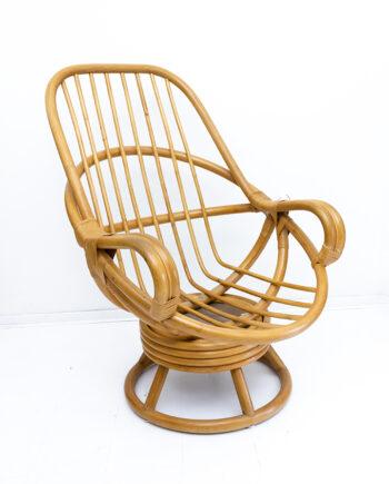 Vintage rotan fauteuil met kussen jaren 80