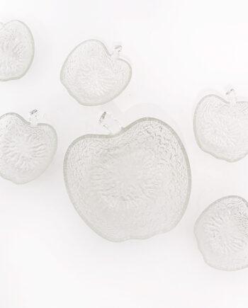 Vintage schaal appel van glas met 6 bakjes