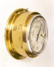 Vintage scheepsklok, thermo- en barometer van massief messing Junghans