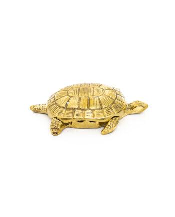 Vintage schildpad asbek van messing met losse deksel