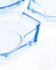 Vintage schoteltjes van blauw persglas – set van 6