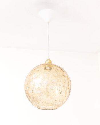 Vintage seventies hanglamp met glazen globe kap