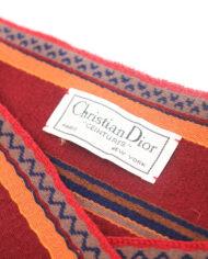 Vintage stoffen ceintuur bordeauxrood en oranje met kwastjes Christian Dior