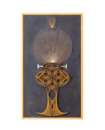 Vintage string art geometrische olielamp in houten lijst