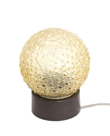Vintage tafellamp getint glas met bubbels
