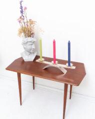 Vintage teakhouten salontafel met 6-hoekig blad en elegante pootjes