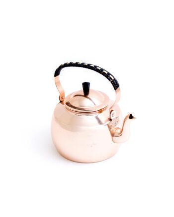 Vintage theepot koperkleurig met gewoven handvat