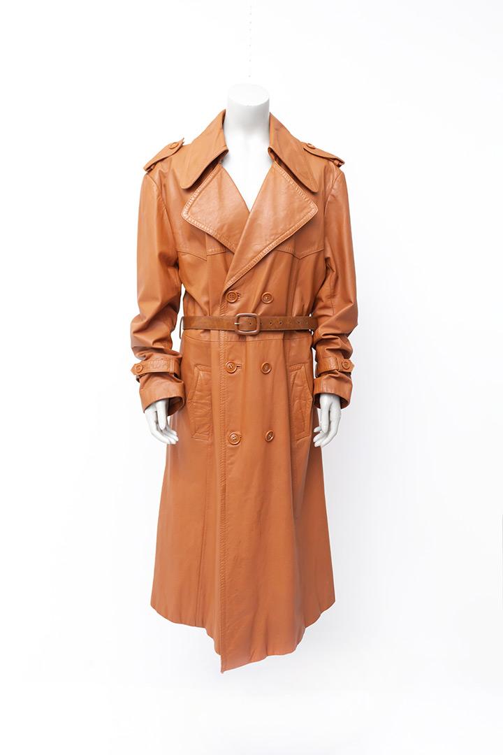 Vintage trenchcoat van bruin leer Monsieur B jaren 70