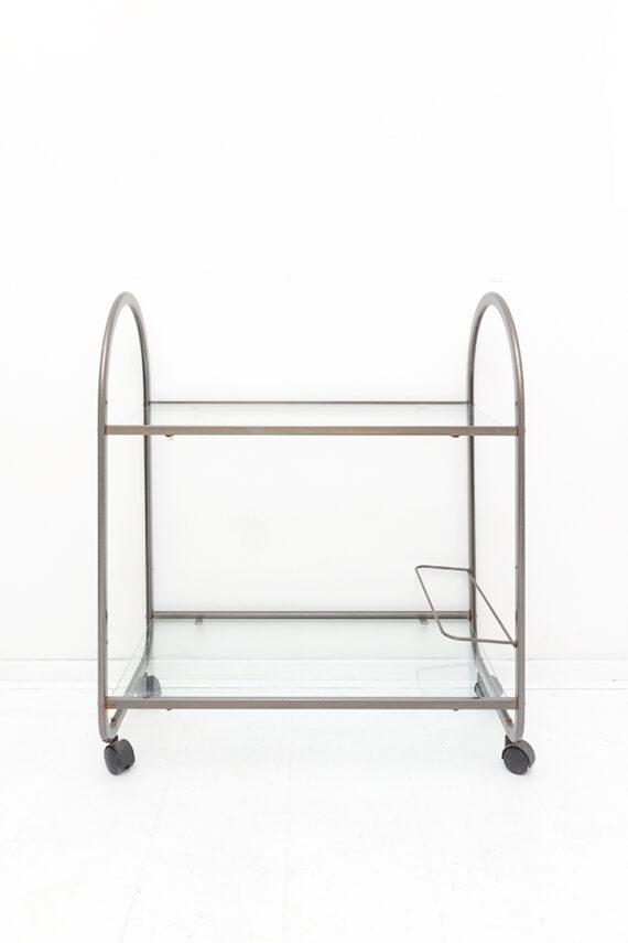 Vintage trolley van metaal met glasplaten