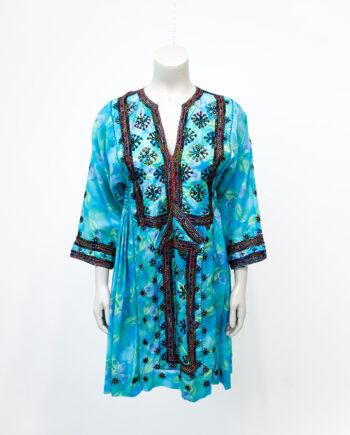 Vintage turkooizen Beloutch jurk met borduursels