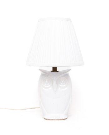Vintage uil tafellamp van wit keramiek met plissé kap