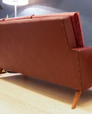 Vintage velvet bank met imitatieleer bordeauxrood jaren 60/70