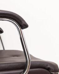 Vintage verstelbare bureaustoel bekleed met bruin skai-leer Zefla Italy