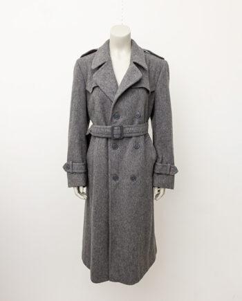 Vintage wollen trenchcoat grijs met ceintuur Loden Salzburg