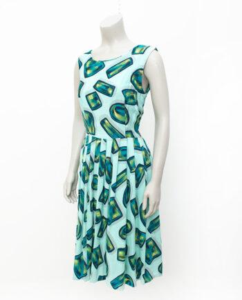 Vintage zomerjurk mintgroen met abstracte vormen jaren 50