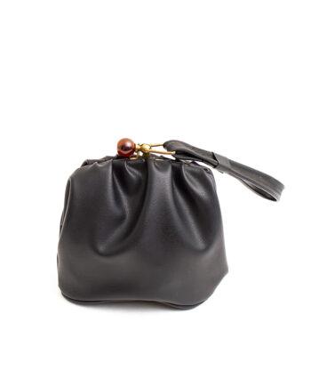 Vintage zwart handtasje met knip