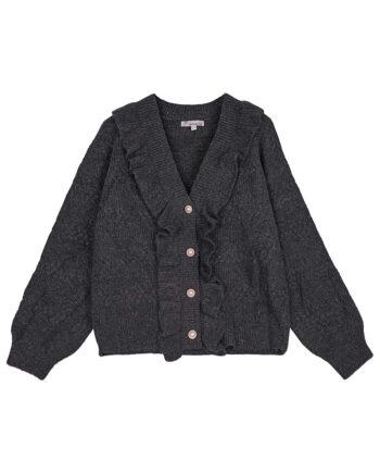 Antraciet vest vintage-look met rushes en parelknopen