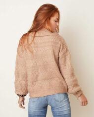 Bruin vest vintage-look met rushes en parelknopen