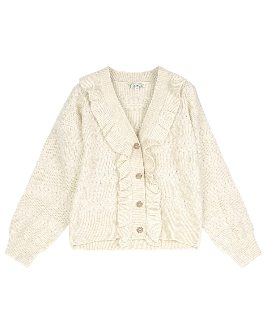 Crèmekleurig vest vintage-look met rushes en parelknopen