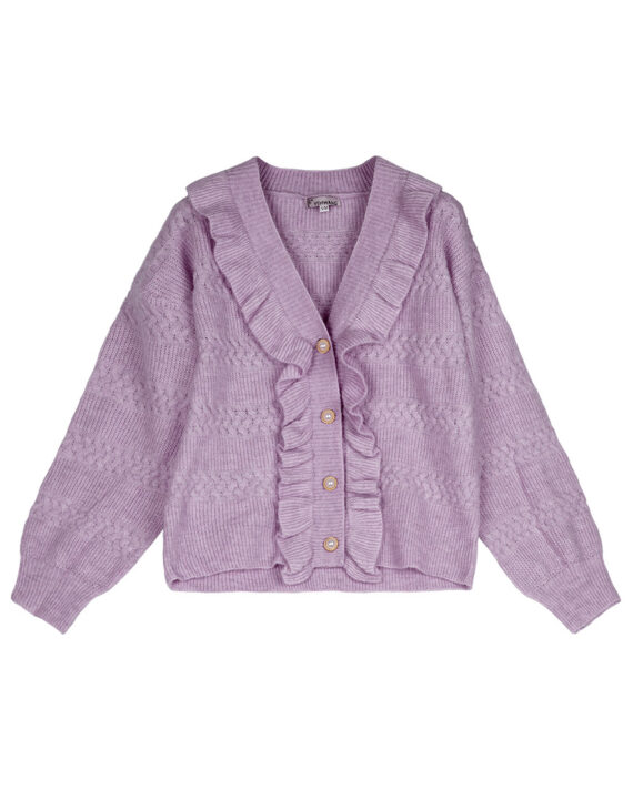 Lila vest vintage-look met rushes en parelknopen