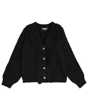 Zwart vest vintage-look met rushes en parelknopen