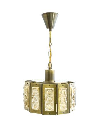 Vitrika hanglamp messing met figuurglas Deens Design jaren 60