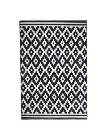 Vloerkleed met grafisch zwart/wit patroon