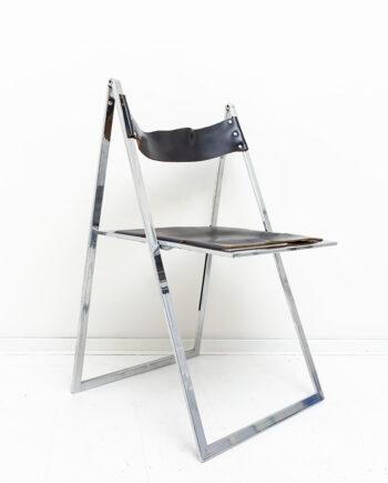 Vono Lübke vintage klapstoel met verchroomd frame en zwarte leren zitting