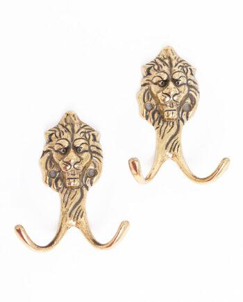 Wandhaak leeuw vintage messing - set van 2