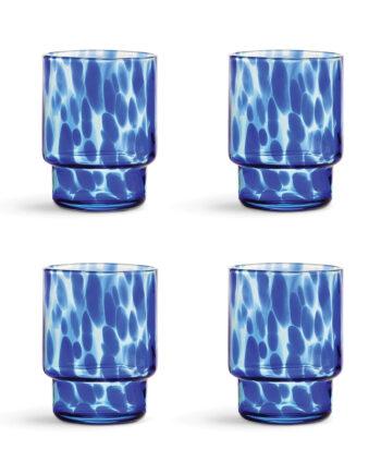 Waterglazen blauw tortoise &Klevering set van 4