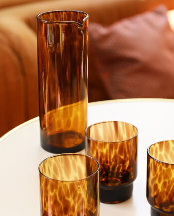 Waterglazen bruin tortoise &Klevering set van 4