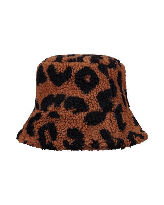 Winterse bucket hat met luipaard-print