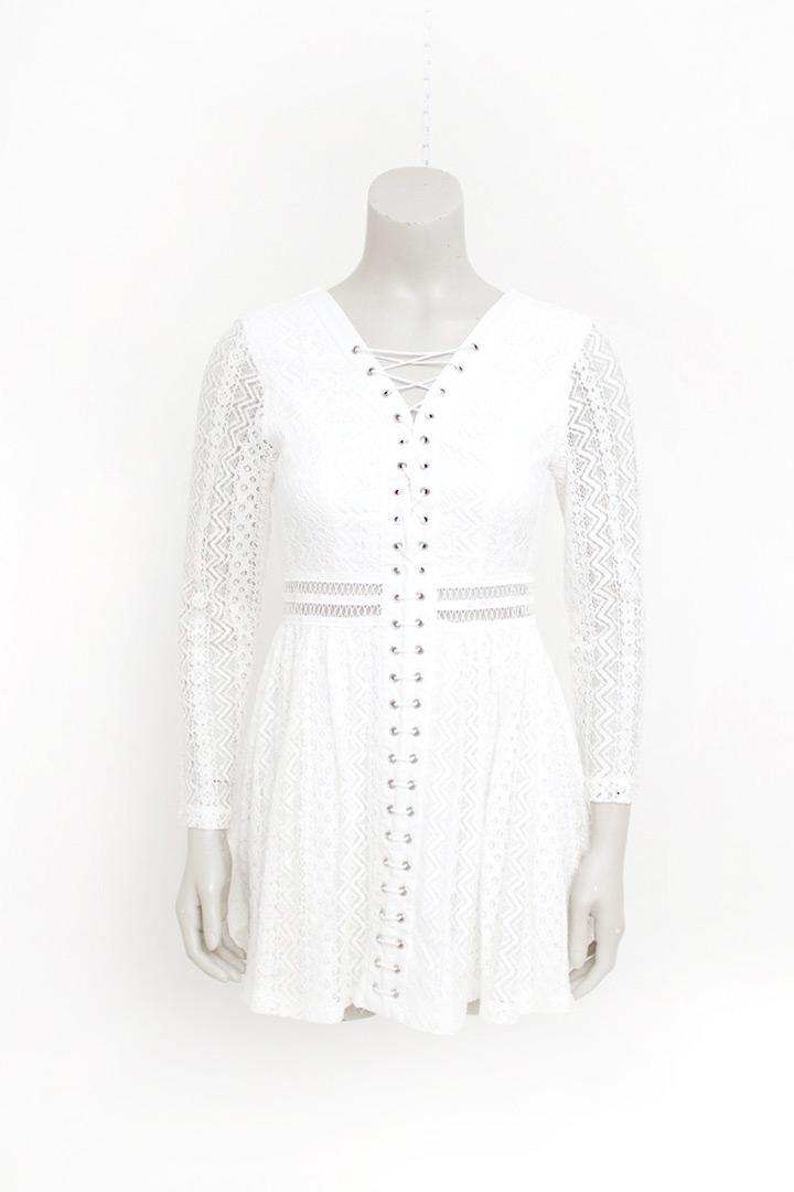 Witte kanten jurk met rijgkoord