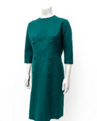 Wollen vintage jurk bosgroen met dubbele rij knopen jaren 60