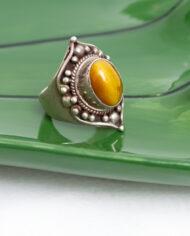 Zilveren ring met edelsteen tijgeroog vintage