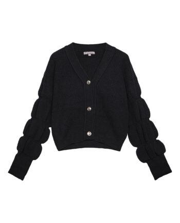 Zwart vest met pofmouwen en knopen vintage-look