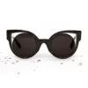 Zwarte cateye zonnebril met cutouts