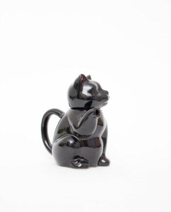 Zwarte porseleinen theepot kat
