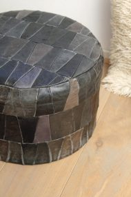 Zwarte-ronde-vintage-leren-patchwork-poef-2