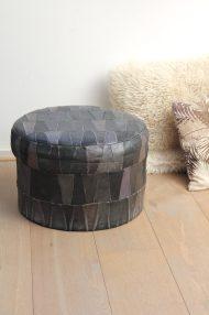 Zwarte-ronde-vintage-leren-patchwork-poef-3