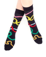 Zwarte sokken met scheepstouwen
