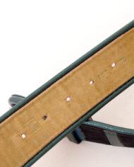 Zwarte suède riem met gekleurde metallic leren strepen jaren 80