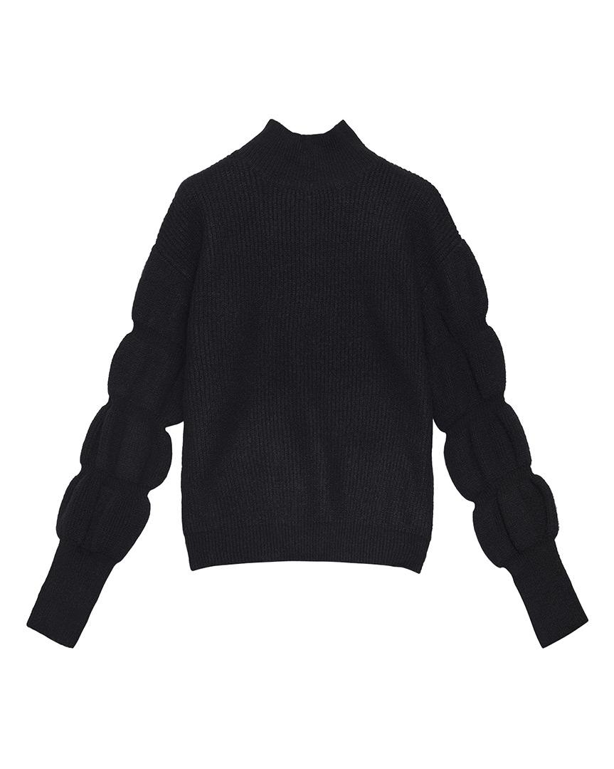 Zwarte trui vintage-look met pofmouwen