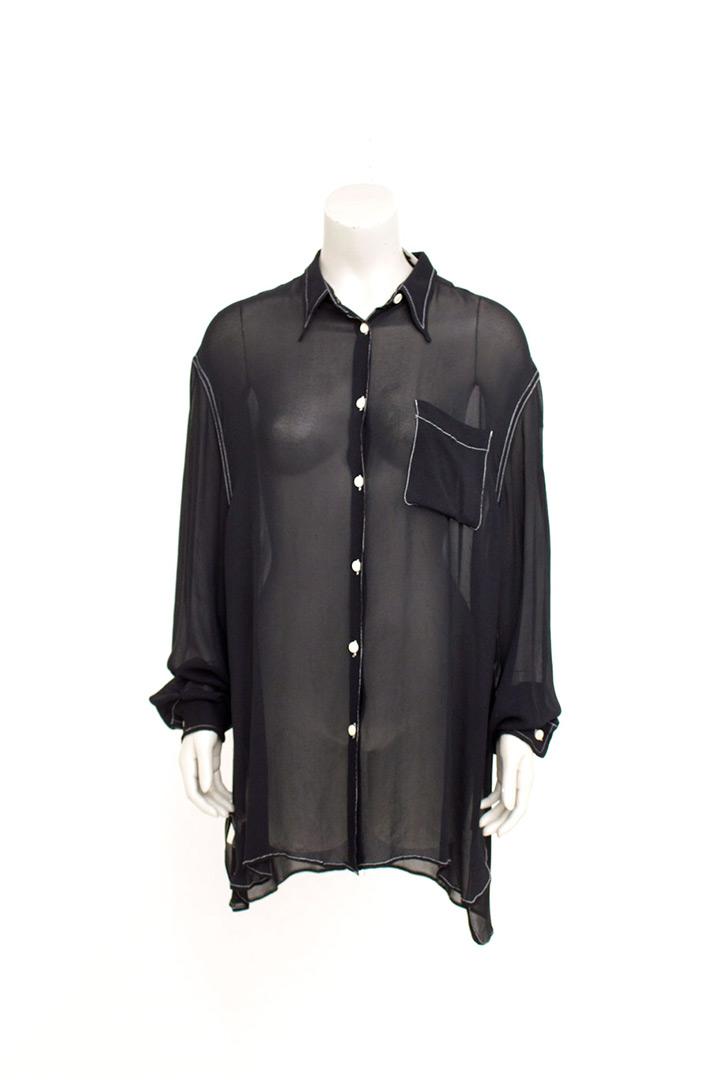 Zwarte vintage Junior Gaultier semi-transparante blouse