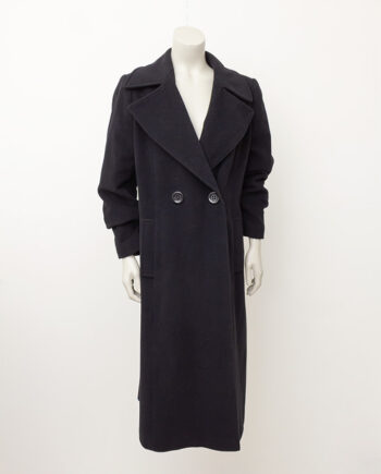 Zwarte wollen winterjas met brede revers Maison de Bonneterie