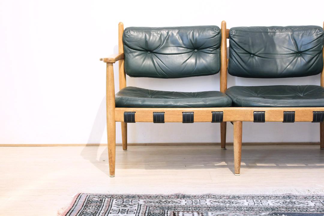 Arne Norell donkergroene leren zithoek