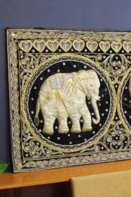 birmese-vintage-kalaga-olifanten-schilderij-wanddoek-5