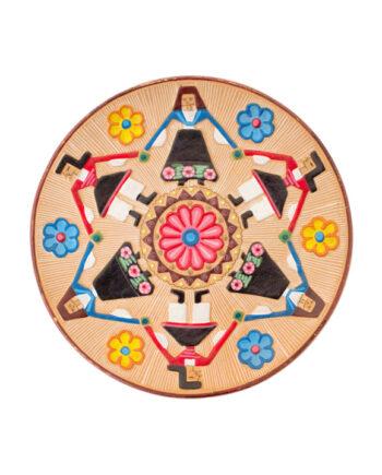 Deens vintage keramieken bordje folklore dans